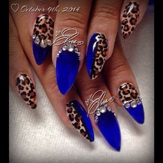 Blue and leopard almond nails