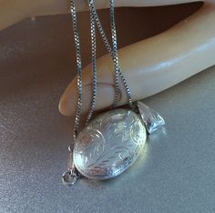 Etched Sterling Locket Necklace Victorian by LynnHislopJewels