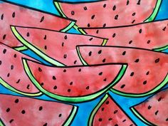Watermelon watercolors from Splish Splash Splatter Classroom Art Projects, School Art Projects, Art Classroom, 2nd Grade Art, Grade 1, Watermelon Art, Ecole Art, Spring Art, Art Lessons Elementary