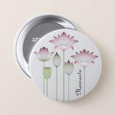 Pink Lotus Flower Namaste Elegant Modern Custom Pinback Button - elegant gifts gift ideas custom presents