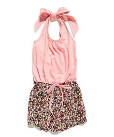 Pink Floral Halter Romper   zulily