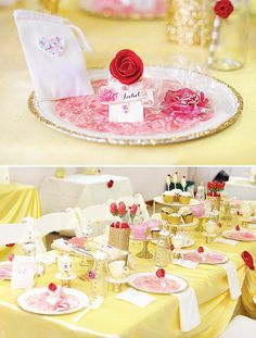 princess belle party tablescape and place settings