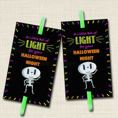 Halloween Glow Stick Favor Tags!  A great alternative to candy for trick or treaters!  Glow sticks are so cheap and kids LOVE them!! So cute