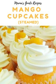 These Mango Cupcakes (steamed) are an ideal recipe for any first timer. You dont need an oven to make these delicious mango flavoured cupcakes. The recipe is just for small servings and so quick and easy to make. Mango Dessert Recipes, Mango Recipes, Dessert Drinks, Delicious Desserts, Juicer Recipes, Detox Recipes, Desert Recipes, Salad Recipes, Cupcake Flavors
