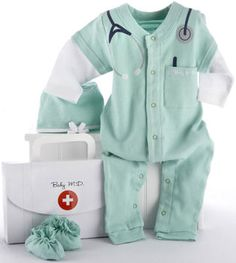 The Baby Aspen Baby Doctor Gift Set includes newborn baby doctor scrub suit, baby hospital booties and baby surgical cap.