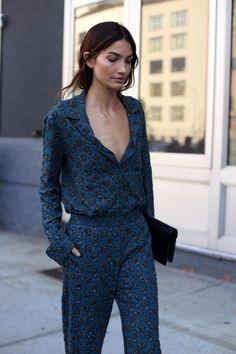 Blue paisley pattern jumpsuit