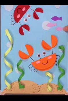 Boy Diy Crafts, Crab Crafts, Paper Crafts For Kids, Easy Crafts For Kids, Diy Crafts Videos, Toddler Crafts, Preschool Crafts, Fun Crafts, Art For Kids