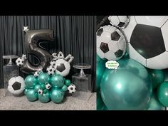 Football Balloons, Its A Boy Balloons, Balloon Arrangements, Balloon Decorations, Star Wars Birthday, 5th Birthday, Chelsea Soccer, Ideas Para Fiestas, Balloon Bouquet