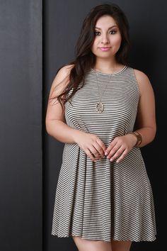 Plus Size Sleeveless Open Back Striped Flare Dress   UrbanOG