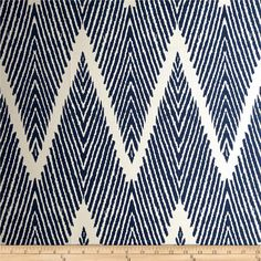 Lacefield Bali Chevron Slub Navy/Chalk from @fabricdotcom $18  Screen printed on cotton slub cloth (has the appearance of linen) this medium weight fabric is very versatile. This fabric is perfect for window treatments (draperies, curtains, valances, and swags), bed skirts, duvet covers, pillow shams, accent pillows, tote bags, aprons, slipcovers and upholstery. Colors include blue on a white background.  This fabric has 9,000 Rubs.