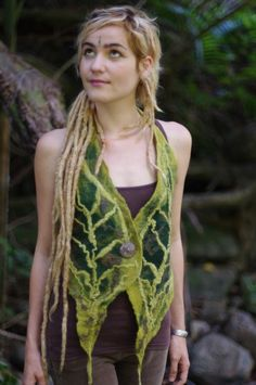 Felt Tie Up Leaf Vest by frixiegirl