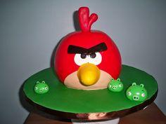 Red Angry Bird Cake  www.contemporarycakery.com