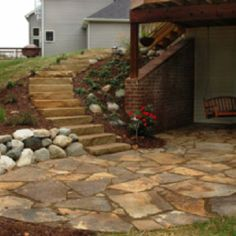 Garden Patio Design – Patio Paving With Natural Stone Back Patio, Backyard Patio, Patio Stairs, Patio Roof, Small Patio, Walkout Basement Patio, Rustic Basement, Design Patio, Backyard Designs