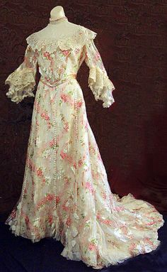 Floral chiffon afternoon dress, c.1905, from the Vintage Textile archives.