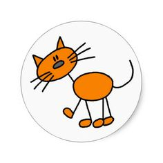 Stick Figure Cat T-shirts and Gifts Round Sticker