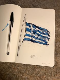 Missing Greece. Ball pen and acrylic on Inspired by my favorite flag . Moleskine, Greece, Flag, Ocean, Inspired, My Favorite Things, Painting, Inspiration, Biblical Inspiration