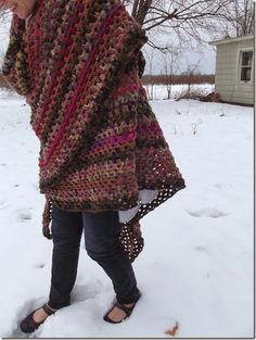The Yarn Collector's Half-Blanket - large granny triangle blanket / shawl with basic instructions.