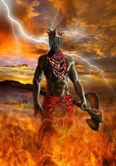 Shango/Xangô, Orisha of thunder. African American Art, African Art, American History, Shango Orisha, Shango God, Yoruba Orishas, African Mythology, Black Art Pictures, Black Artwork