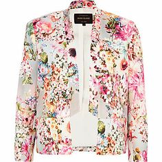 Grey floral print inverted collar blazer $100.00