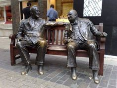 """Franklin D. Roosevelt and Winston Churchill statue Bond Street London"" Franklin D. Roosevelt and Winston Churchill statue, Bond Street, London Bond Street, Street Art, Angel Statues, Greek Statues, Buddha Statues, Stone Statues, Statue Tattoo, Winston Churchill, Monuments"
