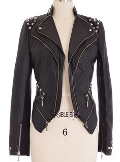 Bad-Ass in Black Moto Jacket | PLASTICLAND  AND the lining is leopard print.