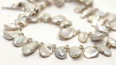 White Keshi Petal Pearls and Topaz Crystals Necklace | AyaDesigns - Jewelry on ArtFire