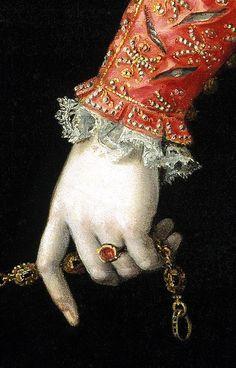 Isabella de Valois, Queen of Spain (detail) ~ Juan Pantoja de la Cruz, 1605