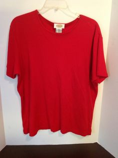 Talbots Red T Shirt Layer Extra Large Solid Women's