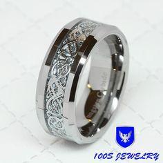 8MM Tungsten Carbide Silver Celtic Dragon Inlay Mens Ring Wedding Band Size 8-14 #HandMade #BeveledEdge