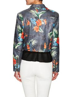 Warm Floral Leather Motorcycle Jacket from 250 Key Spring Pieces on Gilt