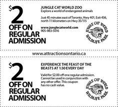 JUNGLE CAT WORLD INC. - 2015 Summer Coupon Ontario Attractions, Jungle Cat, Coupons, World, Cats, Summer, Gatos, Summer Time, Coupon