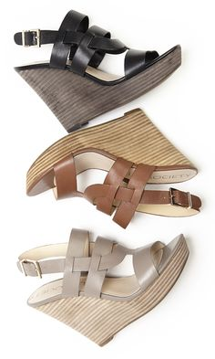 Leather wedge sandals in a walkable platform silhouette with a stacked heel and adjustable slingback closure | By @solesociety
