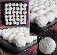 Postup: 1) Rozmíchejte tvaroh společně s medem. 2) Ze vzniklé hmoty vytvarujte kuličky, do kterých vložte mandli a obalte v kokosu. 3) Skladujte v chladu.