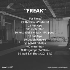 """""""FREAK"""" Benchmark WOD (a combination of Fran, Eva, Annie and Kelly): 21 Thrusters (95/65 lb); 21 Pull-Ups; 800 meter Run; 30 Kettlebell Swings (1.5/1 pood); 30 Pull-Ups; 50 Double-Unders; 50 AbMat Sit-Ups; 400 meter Run; 30 Box Jumps (24/20 in); 30 Wall Ball Shots (20/16 lb)"""