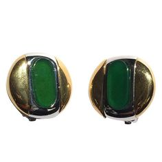 Givenchy 1977 Modern Clip Earrings. | From a unique collection of vintage clip-on earrings at https://www.1stdibs.com/jewelry/earrings/clip-on-earrings/ @1stdibs @Givenchy #Givenchy #earrings #jewelry #1970s #clipons #fashion #forsale #shopping #style #luxury