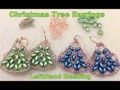 (2161) Christmas Tree Earrings--LeftHand beading tutorial - YouTube