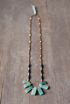 Mixed Media Boho Necklace /  Green  Gold  Black by BlueBirdLab, $38.00