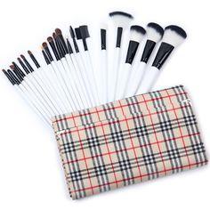SheIn(sheinside) 20pcs Khaki Plaid Makeup Brush Set featuring polyvore beauty products makeup makeup tools makeup brushes beauty white