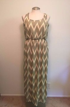 Espresso Womens XL Beige Black Striped Maxi Dress #Espresso #Maxi