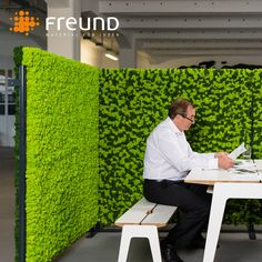 Implement our natural moss walls into your office design as a smart solution to devide spaces, create some privacy and enhance the acoustic situation for more focus.  . . Raumtrenner mit Evergreen Islandmoos (Foto: Andreas Schwarz für Freund) . . #freundgmbh #moosmanufaktur #freundmoos #freundmoss #moss #moos #mooswand #mosswall #customdesign #biophilic #inspiration #interiordesign  #work #wallart #interior #motivation #greenery #roomdevider #officedesign