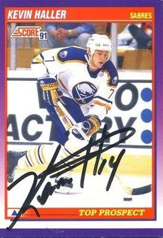 Kevin Haller Buffalo Sabres Signed 1991-1992 Score Rookie Card # 386 Rare SL COA . $6.00. Buffalo Sabres DefensemanKevin HallerHand Signed 1991-1992 ScoreRookie Card # 386.GREAT AUTHENTIC HOCKEY COLLECTIBLE!!AUTOGRAPHS GUARANTEED AUTHENTIC BY SPORTS LOT, INC. WITH SPORTS LOT, INC STICKER ON ITEM.SPORTS LOT, INC. #: 12603