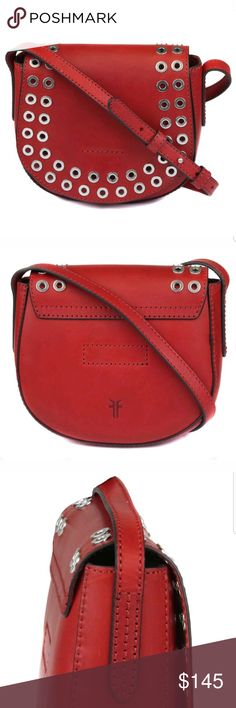"Frye Cassidy Small Grommet Saddle Crossbody Bag Red Fry Cassidy Small Grommet Bag  Top flap with magnetic-snap closure  Adjustable crossbody strap  Exterior features grommet trim details  Approximately. 7"" H x 8"" W x 3""D  Approximately.  21.5 -23 strap drop  Leather  New with tags Frye Bags Crossbody Bags"