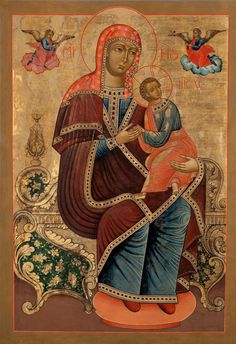 A Russian icon of the Mother of God of the Passion, also known as Strastnaya. It is very rare for this type of icon to depicted Mary seated on a throne, especially a baroque one. In the Catholic Church, a Cretan copy of this icon is venerated under the title Our Lady of Perpetual Help.