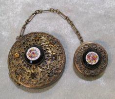 Vintage Rare COMPACT & ROUGE TANGO, Gold-tone Filigree, Stones and Micro-mosaic