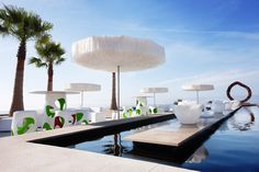 Anima Beach Club, Can Pere Antoni Beach, Palma de Mallorca. Hotel Decor, Hotel Spa, Beach Club, Jardiniere Design, Mallorca Beaches, Mallorca Island, Parasol Base, Exotic Beaches, Pergola