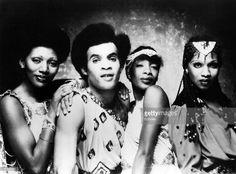 1978 - Photo of BONEY M; L - R Liz Mitchell, Bobby Farrell, Maizie Williams and Marcia Barrett - Posed studio group portrait