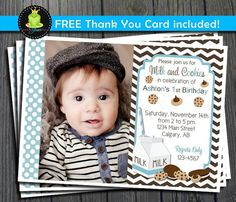 Milk and Cookies Invitation FREE Thank You by ForeverYourPrints, $12.00