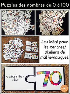 Puzzles des nombres de 0 à 100. Teaching Numbers, Math Numbers, Classroom Crafts, Math Classroom, Daily 3 Math, 1st Grade Math, Grade 2, French Numbers, Team Teaching