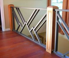 A clever use of the a Pilaster assembled as a four sided post for a stair railing or newel post and capped with the Four Corners rosette, corner block. House Main Gates Design, Door Gate Design, Door Design Interior, Main Door Design, Interior Stairs, Steel Railing Design, Metal Stair Railing, Balcony Railing Design, Modern Window Design