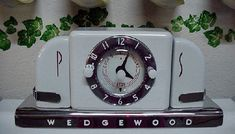 Clock with salt and pepper shakers on pale blue #Wedgewood stove